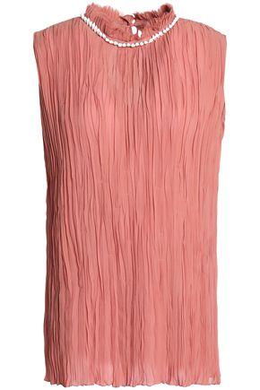 NINA RICCI Shell-embellished plissé silk-chiffon blouse