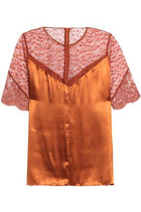NINA RICCI Embroidered tulle-paneled satin top
