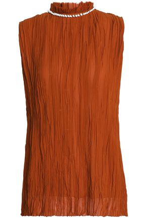NINA RICCI Embellished plissé silk blouse