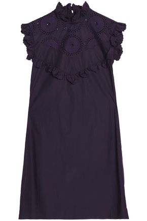 NINA RICCI Scalloped broderie anglais cotton-poplin dress
