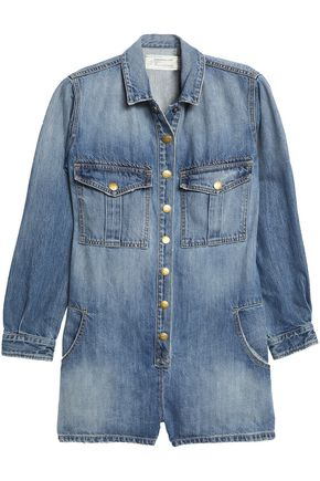 CURRENT/ELLIOTT Faded denim playsuit