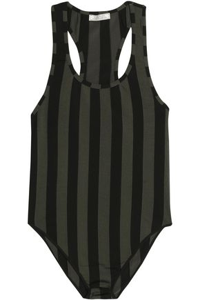 NINA RICCI Striped stretch-knit bodysuit