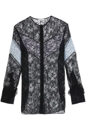 NINA RICCI Ruffle-trimmed two-tone lace shirt