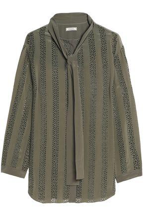 NINA RICCI Pussy-bow broderie anglaise silk blouse