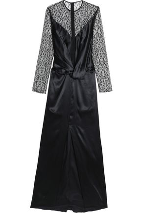 NINA RICCI Embroidered tulle-paneled twist-front satin gown