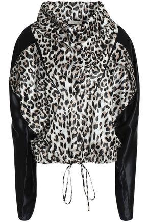 NINA RICCI Draped leopard-print satin blouse