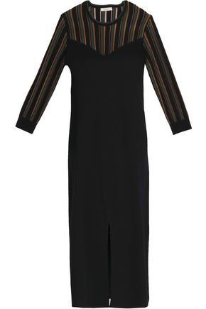 NINA RICCI Intarsia-paneled wool and silk-blend dress