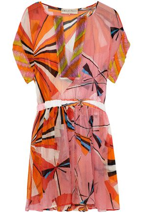 EMILIO PUCCI Pleated printed silk-seersucker coverup