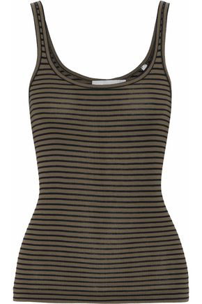 VINCE. Striped cotton and modal-blend jersey tank