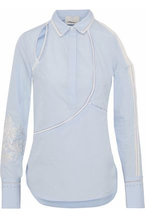 3.1 PHILLIP LIM Lattice-trimmed cutout embellished cotton-poplin shirt