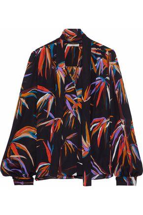 EMILIO PUCCI Printed gathered silk-chiffon blouse