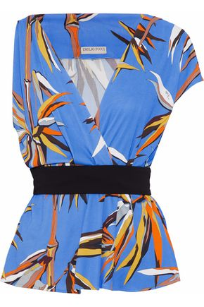 EMILIO PUCCI Wrap-effect printed stretch-crepe peplum top