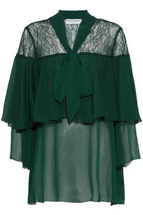 PERSEVERANCE Layered pussy bow lace-paneled georgette blouse