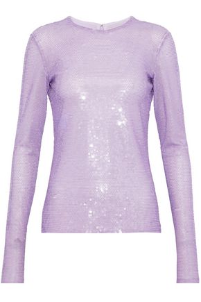 EMILIO PUCCI Embellished neon tulle top