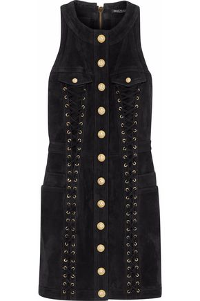 BALMAIN Lace-up button-detailed suede mini dress