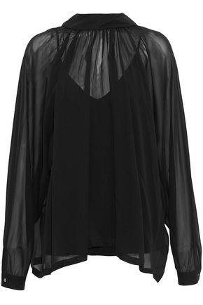 ROBERT RODRIGUEZ Gathered silk-chiffon blouse