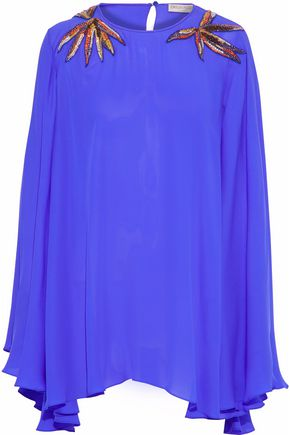 EMILIO PUCCI Draped embellished silk top