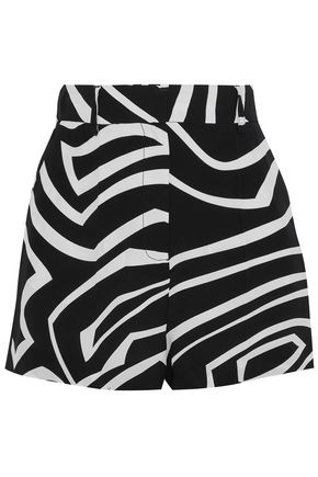 WOMAN PRINTED SILK CREPE DE CHINE SHORTS BLACK