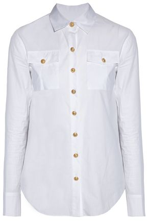 BALMAIN Button-detailed cotton-poplin shirt