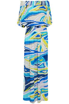 EMILIO PUCCI Off-the-shoulder printed crinkled gauze maxi dress