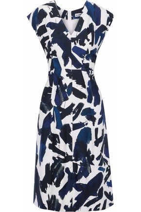 JIL SANDER Pleated printed cady dress
