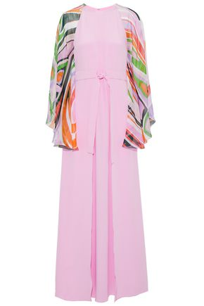 EMILIO PUCCI Printed chiffon-paneled layered silk crepe de chine gown