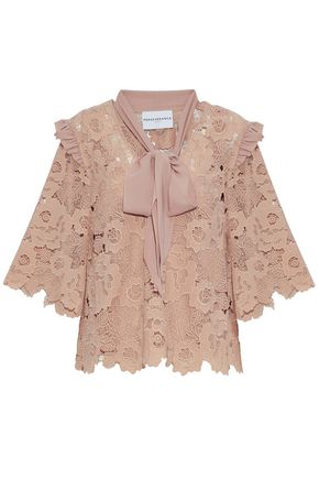 PERSEVERANCE Pussy bow ruffle-trimmed guipure lace blouse