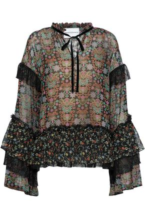 PERSEVERANCE Pussy-bow velvet-trimmed corded lace and floral-print chiffon top