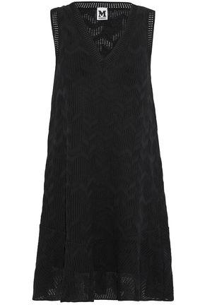 M MISSONI Pointelle and crochet-knit cotton-blend mini dress