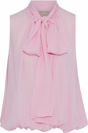 EMILIO PUCCI Pussy-bow gathered silk-chiffon blouse