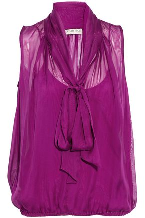EMILIO PUCCI Pussy-bow gathered silk-mousseline blouse