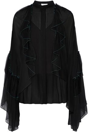 CHLOÉ Ruffled tulle-paneled pintucked silk-georgette blouse