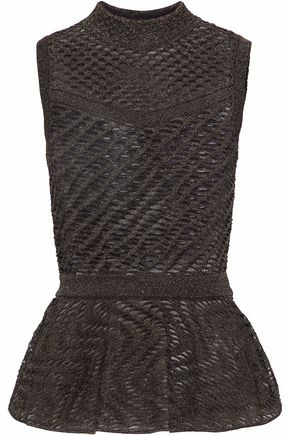 M MISSONI Metallic open-knit peplum top