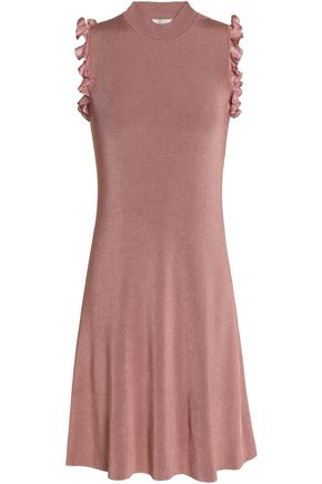 NINA RICCI Ruffle-trimmed cutout ribbed-knit dress