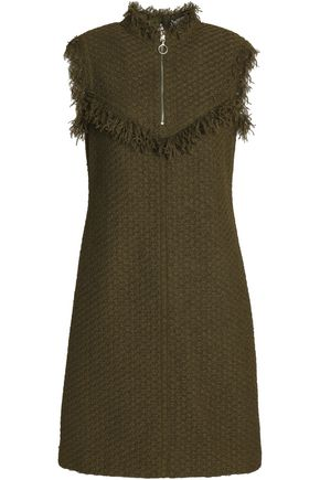 NINA RICCI Fringe-trimmed knitted mini dress