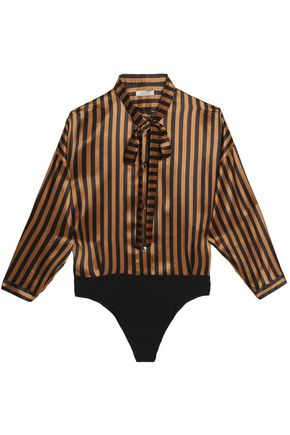 NINA RICCI Pussy-bow striped silk-satin bodysuit