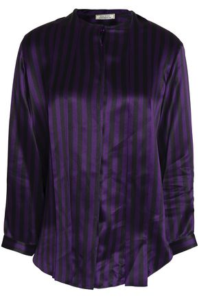 NINA RICCI Striped silk-satin top