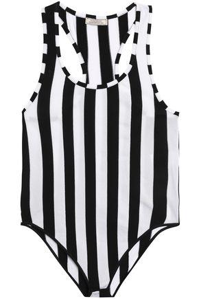 NINA RICCI Striped stretch-knit bodysuit