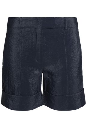 WOMAN CRINKLED SATIN-CREPE SHORTS NAVY