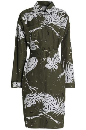 NINA RICCI Belted printed cotton-poplin shirt dress