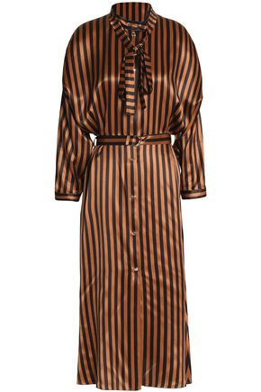 NINA RICCI Striped satin-silk midi dress