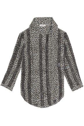 NINA RICCI Pussy-bow leopard-print broderie anglaise silk blouse