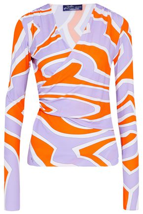EMILIO PUCCI Wrap-effect gathered stretch-jersey top