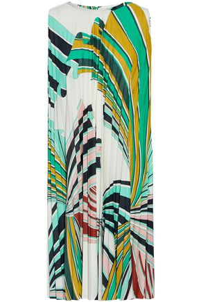 EMILIO PUCCI Printed plissé crepe dress