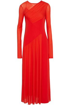 EMILIO PUCCI Wrap-effect paneled ruched crepe de chine maxi dress