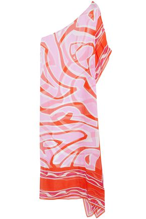 EMILIO PUCCI One-shoulder asymmetric printed silk-gauze coverup