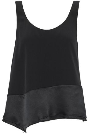 3.1 PHILLIP LIM Wrap-effect satin-paneled silk crepe de chine top