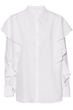 ROBERT RODRIGUEZ Ruffled cotton-poplin blouse