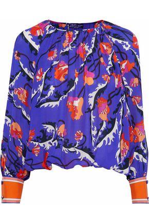 EMILIO PUCCI Twill-trimmed printed silk-chiffon blouse
