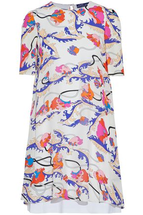 EMILIO PUCCI Split-back layered printed silk-blend mini dress